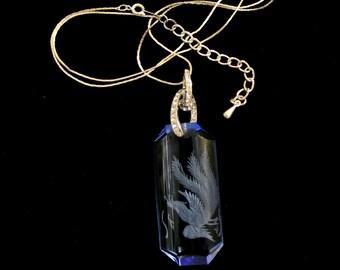 Vintage Phoenix Etched Blue Glass Necklace