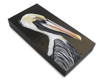 Pelican painting - beach house decor - rustic seaside wildlife - shore bird - realistic wall art pelican - coastal maritime nautical art