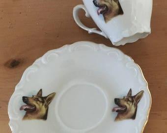German Shepherd Cup and Saucer - Winterling Rosion Bavaria - Dog Lover - German Sherpherd
