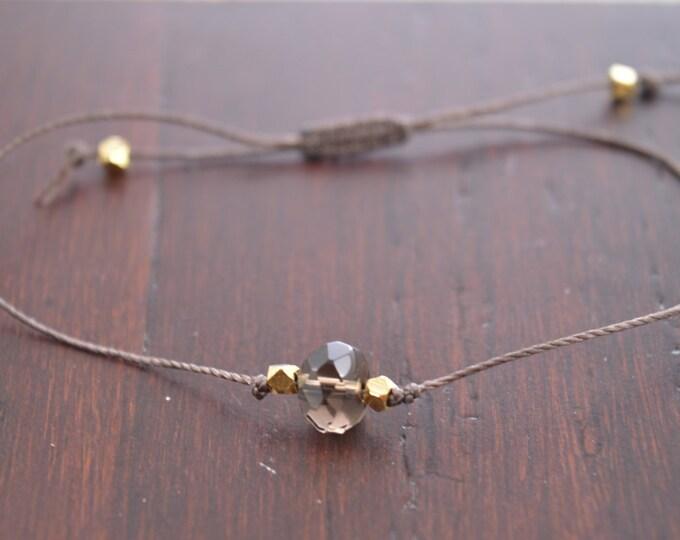 Smokey Quartz Bracelet, wish bracelet, best friend gift, minimalist jewelry, best friend bracelet, beaded bracelet