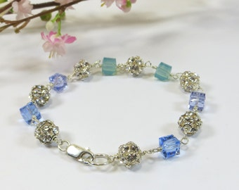 Blue Silver Swarovski Crystal Bracelet, Blue and Aqua Swarovski Cubes Bracelet with Swarovski Disco Balls, Bright Sparkly Sterling Bracelet