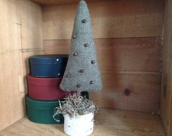 Primitive Christmas Tree with 7 Rusty Bells on Birch Tree base