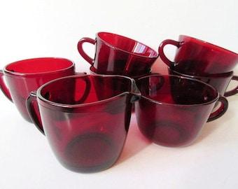 Royal Ruby Sugar, Creamer & 5 Tea Cups, Vintage Anchor Hocking Red Glass