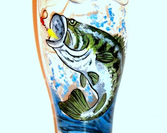 Bass Fish 1 - 19 oz. Pilsner Glass Fathers Day Gift Birthday Dad Gift Hand Painted Beer Glass Jumping Fishing Lure Spinner Waves Splashing