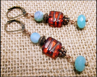 Turquoise Czech Picasso Glass with Amber Crystals, Downton Abbey Earrings, Blue and Brown Art Glass Earrings, Roaring Twenties Earrings