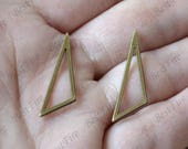 10 pcs Antique Brass triangle Geometric 1 Hole Connector Charms,earring Connector Findings,Filigree Findings, Connector fittings