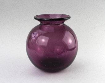 Purple Hand Blown Glass Vase, SRA, Glassware, Flower Vase, Hand Blown by Marianne Degener