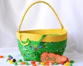 Green Easter Basket, Handmade Green Easter Bucket, Cute Toy Storage Bin, Lego Storage Bin, Crayon Holder, Fun Easter Egg Hunt Bag