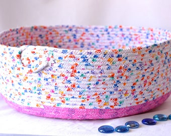 Cat Bed Furniture, Handmade Coiled Pet Bed, Paw Print Fabric Basket, Modern Large Cat Bed, Dog Bed, Pet Paw Fabric Bowl