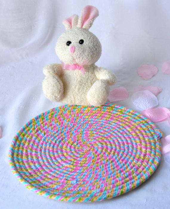 "Candy Land Trivet, Handmade Hot Pad, Lovely Table Mat, Pink Easter Potholder, 10"" Place Mat, Easter Decoration"
