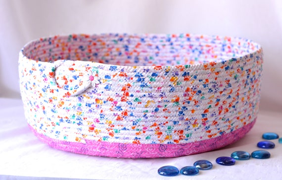 Cat Bed Furniture, Handmade Coiled Pet Bed, Toy Organizer, Girl Pink Shoe Bin, Modern Large Cat Bed, Dog Bed, Pet Paw Fabric Bowl