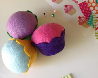 Felt Cupcake Set of 3 (Pink/Blue/Purple Combo) - Kids Toy, Play Food, Pin Cushion, Home Decor, Kitchen, Party Favors, Photo Props,Decoration
