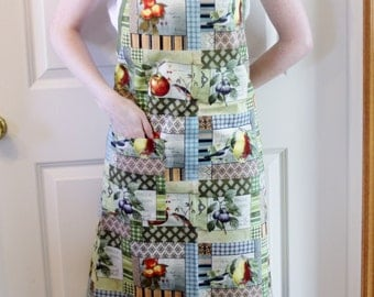 Women's Full Apron in Fruit Fabric with Pocket - Butcher Apron, Adult Apron, Womans Apron, Simple Apron