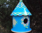 Tropical Blue Round Hand Painted Birdhouse Decorative Yellow Pink Green Floral Designs Doodles and Dots Rope Attached Home and Patio Decor