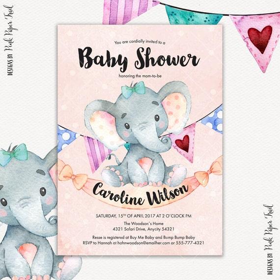 Elephant baby shower invitation baby girl baby shower invitation il570xn filmwisefo Images