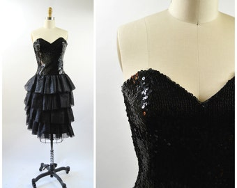 Vintage Sequin Black Strapless Dress with Sweet Heart Neckline Tiered Ruffle Skirt Sequin Bodice Size Small Black Party Dress