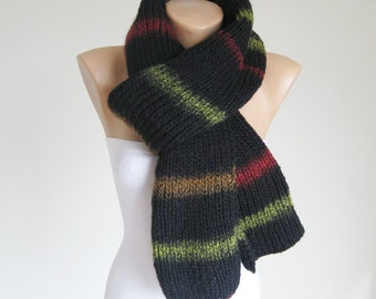 Black striped long ribbed scarf, knitted thick men women scarf, wool ombre shawl, unisex winter accessories, Christmas gift for him