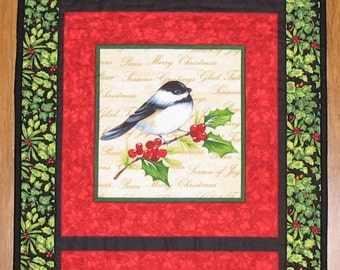 Christmas Wall Hanging, Birds, quilted