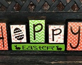SALE--HOPPY Easter holiday wood blocks(carrots)