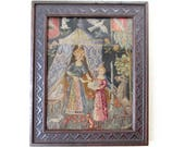 Antique 1800's Needlepoint Textile Petit Point Purse Fragment Framed in Antique Wood Frame