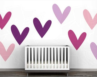 So Much Love Wall Decal Mural by LittleLion Studio - Violet Heart, Dark Pink Heart, Light Pink Heart, Lilac Heart.