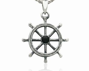Sterling Silver Captain Wheel Pendant Pendentif Marine Aquatic