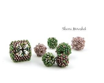 Sale - Reduced 30% - Beaded Beads set of 7 - by Sharri Moroshok