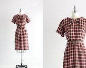 SALE . Red Plaid Dress . 50s Cotton Dress . Vintage Day Dress . 1950s Dress