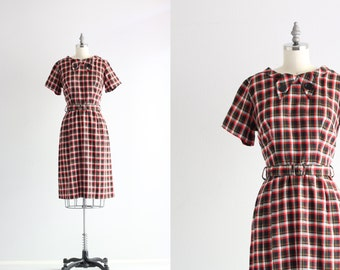 Red Plaid Dress . 50s Cotton Dress . Vintage Day Dress . 1950s Dress