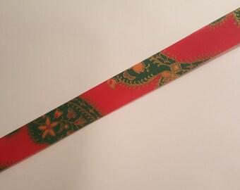 Vintage Christmas Ribbon Destash - Christmas Paisley flat edge - 1980s