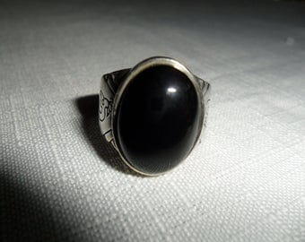 Vintage Sterling Silver Onyx Ring Size 9.75
