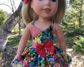 Reserved for Sandra 14.5 Inch Doll Clothes Flowered Sundress with Hairbow for dolls like Wellie Wishers