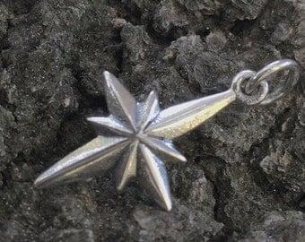 Sterling Silver Star of Bethlehem Charm  -  1 Morning Star Pendant C218