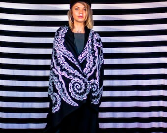 Black Tentacle scarf with white print