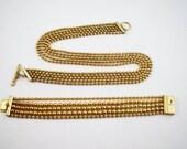 Ball bead multistrand bracelet and necklace set