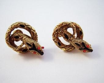 Vintage signed ART snake earrings, snake clip ons