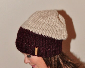 Two-Tone Beanie Hat Chunky Slouchy Hat Knitted Women Hat Winter Hat CHOOSE COLORS Burgundy Taupe Chunky Hand Knit Christmas Gift