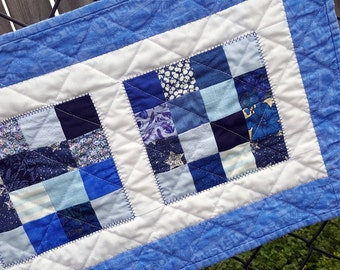Quilted Table Runner or Mat, Dresser Topper or Candle Mat, Cobalt Gem  Perfect for the bar top or small table
