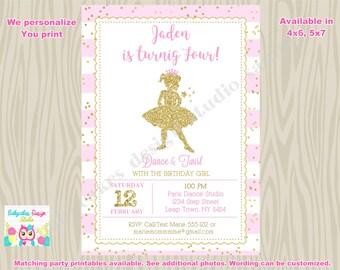 Ballerina Invitation Pink and Gold ballerina invitation invite 1st birthday invitation princess ballerina  printable DIY