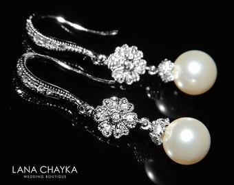 Bridal Pearl Delicate Earrings Swarovski 8mm Pearl Silver Dangle Earrings Small Pearl Wedding Earrings Ivory Pearl Drop Wedding Earrings