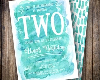 Watercolor Birthday Party Invitation, Teal Birthday Party Invite, Printable Watercolor Birthday Invite in Shades of Green and Teal
