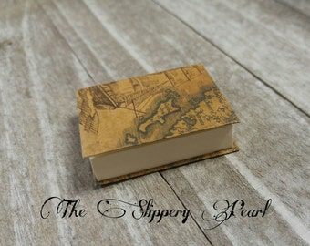 Miniature Book Charm REAL Pages Miniature Journal Pendant Pirate Map Journal Charm Book Pendant Librarian Charm Author Charm