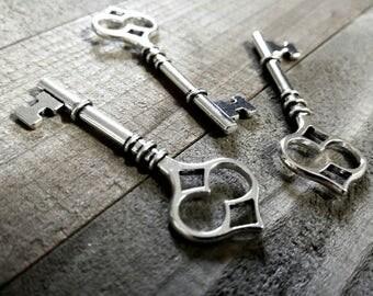 Bulk Skeleton Keys Silver Key Pendants Large Keys Silver Keys Wholesale Keys Skeleton Key Pendants Steampunk Keys 100 pieces