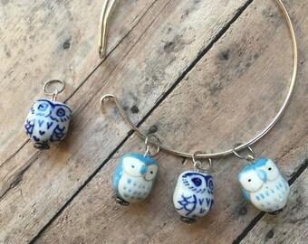 Stitch Marker Bracelet - Blue Owls