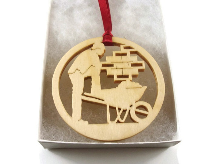 Brick Layer Masonry Construction Worker Christmas Ornament Handmade From Birch Wood By KevsKrafts BN-001-1