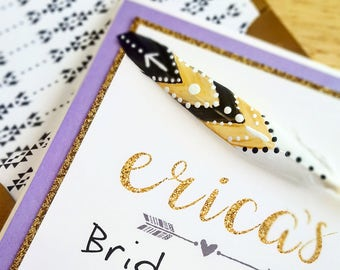 Bride Tribe Glitter Gold Handpainted Feather Bachelorette Party Invitation