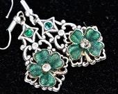 Upcycled Vintage Earring Assemblage, Silver Pierced Hook Clover Shamrock Emerald Green Irish St Patrick  Enamel Jennifer Jones, OOAK - Lucky