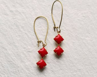 Red Deco Earrings ... Square Geometric Vintage