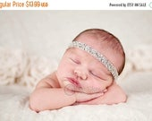 10% off Vintage headband, Baby headband, newborn headband, beaded trim, adult headband, and photo prop The single sprinkled- DIAMONDS headba