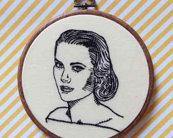 Grace Kelly hand embroidery portait - hand embroidered wall art